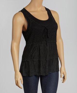 Black Crocheted Layered Tank - Plus