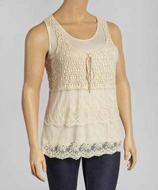 Natural Crocheted Layered Tank - Plus