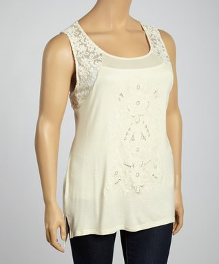Coral Embroidered Scoop Neck Three-Quarter Sleeve Top - Plus