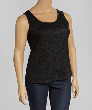 Black Crochet Yoke Top - Plus