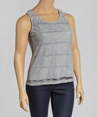 Black Lace Cutout Sleeveless Top - Plus