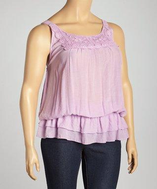 Pink Lace Blouson Tank - Plus