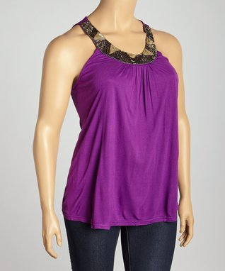 Purple Beaded Yoke Top - Plus
