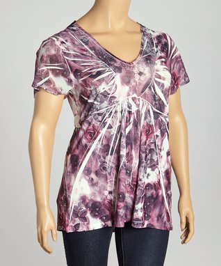 Pink Floral Sublimation V-Neck Top - Plus