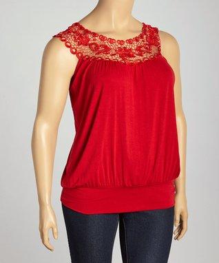 Red Crochet Blouson Top - Plus