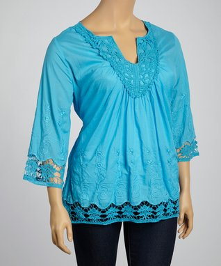 Blue Embroidered Notch Neck Top - Plus