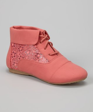 Coral Cute Flower Boot