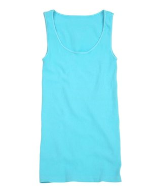 Spa Blue Ribbed Scoop Neck Tank