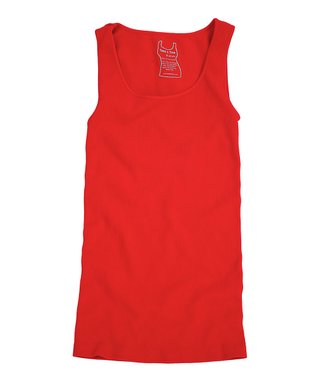 Fire Engine Red Ribbed Scoop Neck Tank