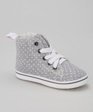 Blue Suede Shoes Gray & White Polka Dot Hi-Top Sneaker