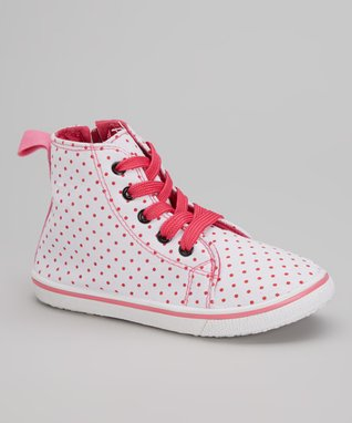 Blue Suede Shoes Pink & White Polka Dot Hi-Top Sneakers