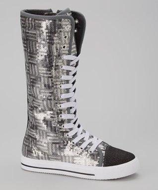 Blue Suede Shoes Black Sparkle Knee-High Sneaker