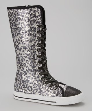 Blue Suede Shoes Black Leopard Sparkle Knee-High Sneaker