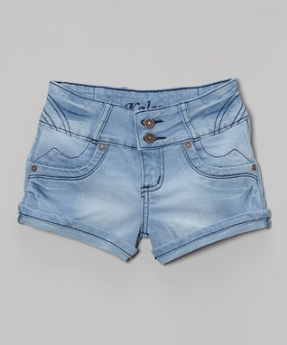 Blue Denim Stitched Shorts - Girls