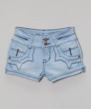 Blue Signature Stitched Denim Shorts - Girls