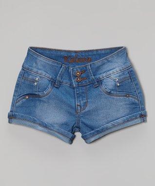 Blue Roll-Cuff Denim Shorts - Girls