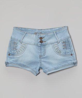 Light Blue Rhinestone Denim Shorts - Girls