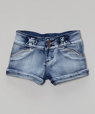 Blue Bow Denim Shorts - Girls