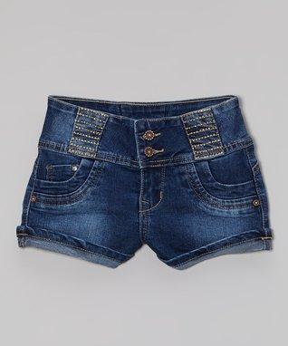 Blue Five-Pocket Denim Shorts - Girls