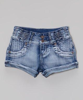 Blue Ruched Denim Shorts - Girls