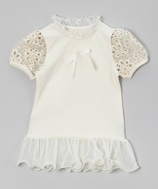 Ivory Eyelet Ruffle Drop-Waist Top - Toddler & Girls