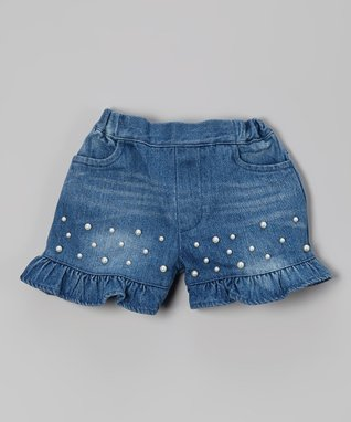 Blue Denim Pearl Ruffle Shorts - Infant, Toddler & Girls