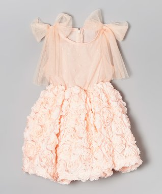 Peach Rosette Babydoll Dress - Infant, Toddler & Girls