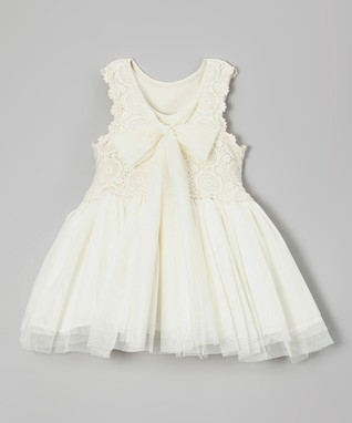 Ivory Crochet Bow Babydoll Dress - Infant, Toddler & Girls