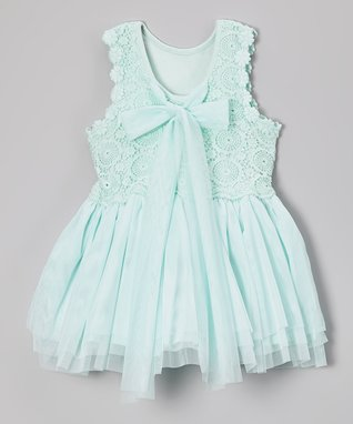 Aqua Crochet Bow Babydoll Dress - Infant, Toddler & Girls