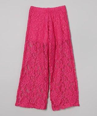 Pink Lace Palazzo Pants