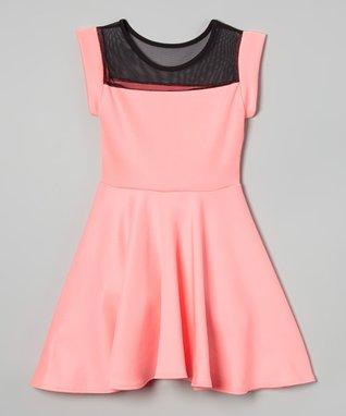 Neon Pink Mesh-Top Skater Dress