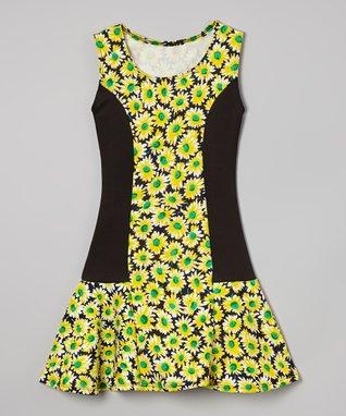 Ivory Mesh-Top Skater Dress