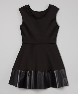 Black Faux Leather-Trim Skater Dress