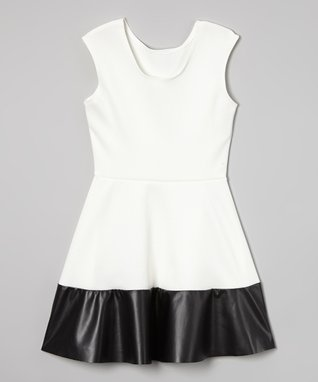 Ivory Faux Leather-Trim Skater Dress