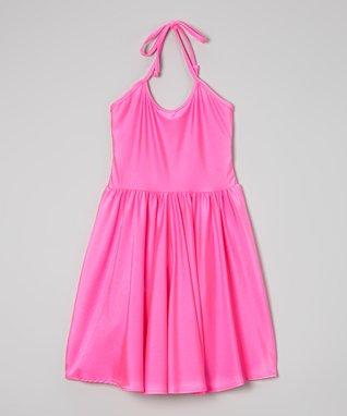 Pink Tricot Halter Dress
