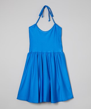 Royal Tricot Halter Dress