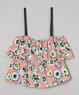 Pink Daisy Ruffle Top
