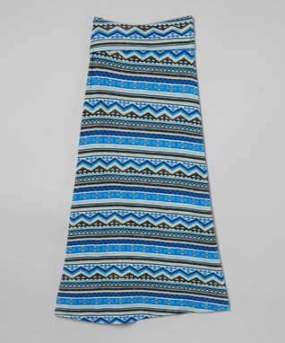 Blue Aztec Maxi Skirt