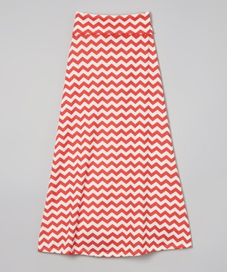 Red Zigzag Maxi Skirt