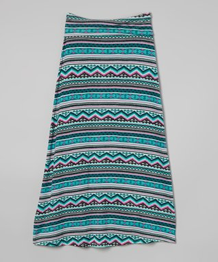 Jade Aztec Maxi Skirt