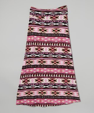 Yellow & Pink Aztec Maxi Dress