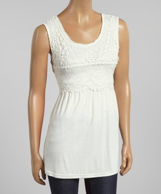 White Crocheted Sleeveless Tunic