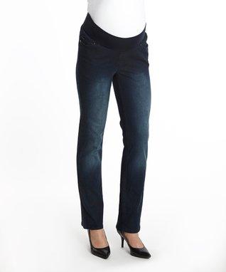 Oh! Mamma Blue Under-Belly Maternity Straight-Leg Jeans - Women & Plus