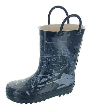 Joseph Allen Navy Scribble Rain Boot