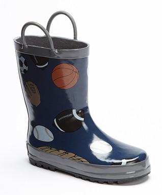 Foxfire Navy Sports Balls Rain Boot