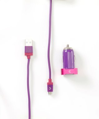Purple & Pink Micro USB Car Charger