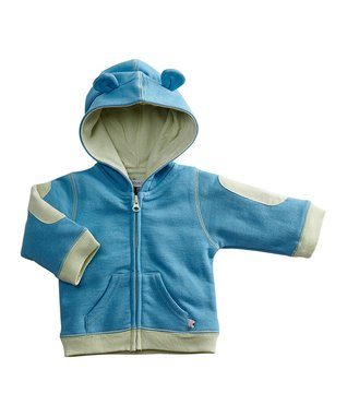 babysoy Blue Bear Hoodie - Infant