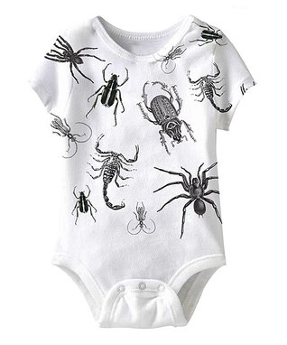 White Creepy Crawlies Sublimation Bodysuit - Infant