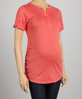 Mom & Co. Coral Ruched Roll-Tab Sleeve Maternity Top - Women & Plus