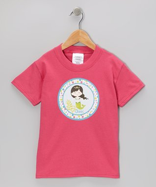 Pink Black Hair Girl Personalized Tee - Infant, Toddler & Girls